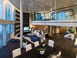 Описание на каюта Royal Loft Suite Balcony - кралски апартамент, категория RL на круизен кораб OVATION of the Seas – обзавеждане, площ