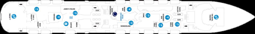 Палуба 5 на круизен кораб OVATION of the Seas - разположение на каюти, ресторанти, места за забавления и спорт