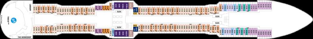 Палуба 6 на круизен кораб OVATION of the Seas - разположение на каюти, ресторанти, места за забавления и спорт