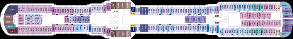 Палуба 8 на круизен кораб OVATION of the Seas - разположение на каюти, ресторанти, места за забавления и спорт