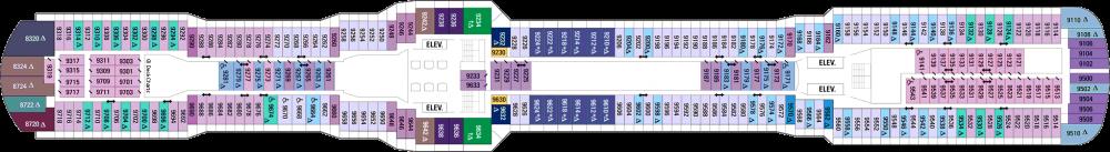 Палуба 9 на круизен кораб OVATION of the Seas - разположение на каюти, ресторанти, места за забавления и спорт