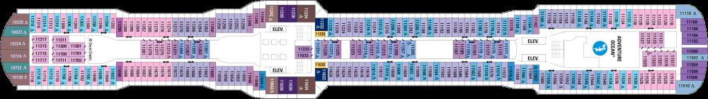 Палуба 11 на круизен кораб OVATION of the Seas - разположение на каюти, ресторанти, места за забавления и спорт