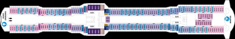 Палуба 13 на круизен кораб OVATION of the Seas - разположение на каюти, ресторанти, места за забавления и спорт