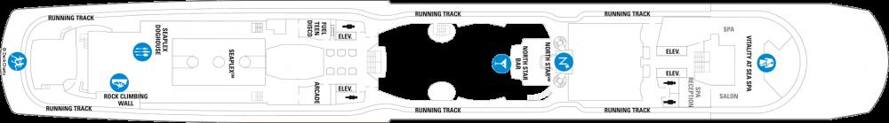 Палуба 15 на круизен кораб OVATION of the Seas - разположение на каюти, ресторанти, места за забавления и спорт