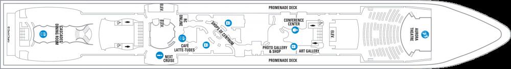 Палуба 5 на круизен кораб RADIANCE of the seas - разположение на каюти, ресторанти, места за забавления и спорт