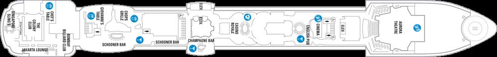 Палуба 6 на круизен кораб RADIANCE of the seas - разположение на каюти, ресторанти, места за забавления и спорт