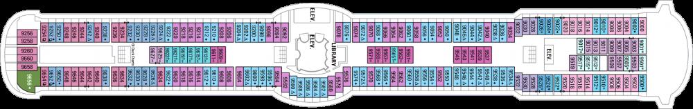 Палуба 9 на круизен кораб RADIANCE of the seas - разположение на каюти, ресторанти, места за забавления и спорт
