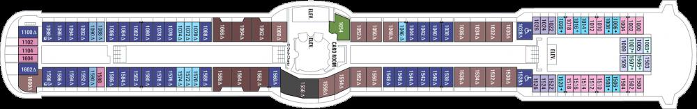 Палуба 10 на круизен кораб RADIANCE of the seas - разположение на каюти, ресторанти, места за забавления и спорт