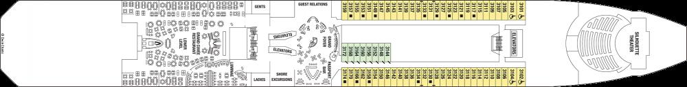 Палуба 3 на круизен кораб Celebrity Silhouette - разположение на каюти, ресторанти, места за забавления и спорт