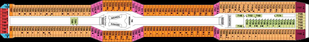 Палуба 7 на круизен кораб Celebrity Silhouette - разположение на каюти, ресторанти, места за забавления и спорт