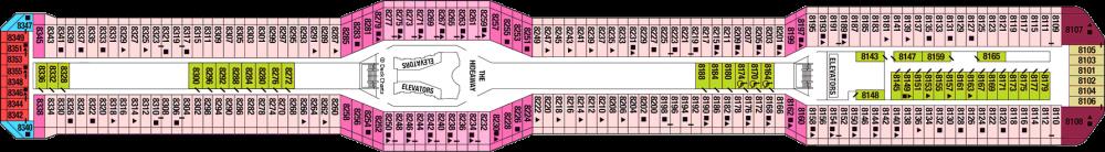 Палуба 8 на круизен кораб Celebrity Silhouette - разположение на каюти, ресторанти, места за забавления и спорт