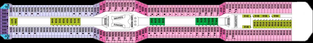 Палуба 9 на круизен кораб Celebrity Silhouette - разположение на каюти, ресторанти, места за забавления и спорт
