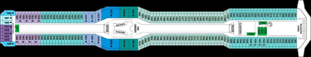 Палуба 11 на круизен кораб Celebrity Silhouette - разположение на каюти, ресторанти, места за забавления и спорт