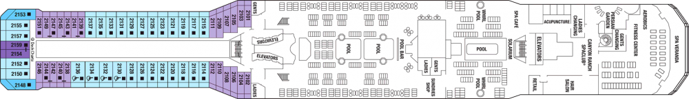 Палуба 12 на круизен кораб Celebrity Silhouette - разположение на каюти, ресторанти, места за забавления и спорт