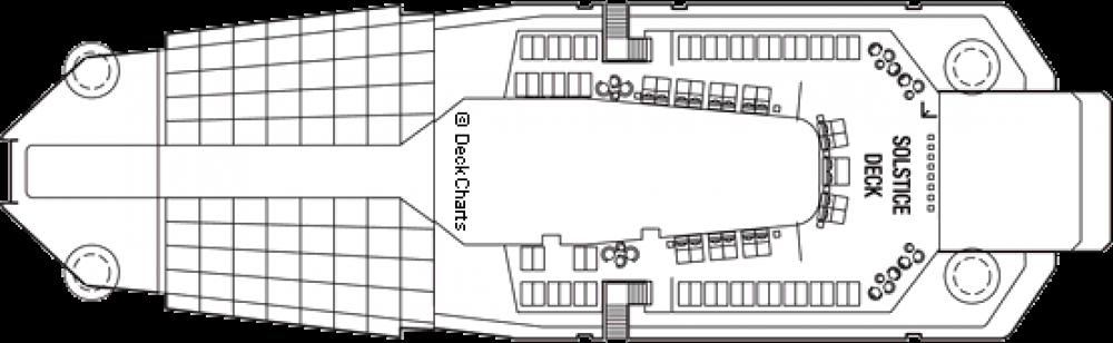 Палуба 16 на круизен кораб Celebrity Silhouette - разположение на каюти, ресторанти, места за забавления и спорт