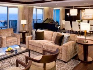 Описание на каюта Penthouse Suite - Супер-луксозен апартамент – категория PS на круизен кораб Celebrity Silhouette – обзавеждане, площ