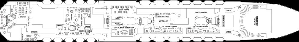 Палуба 5 на круизен кораб Celebrity Reflection - разположение на каюти, ресторанти, места за забавления и спорт