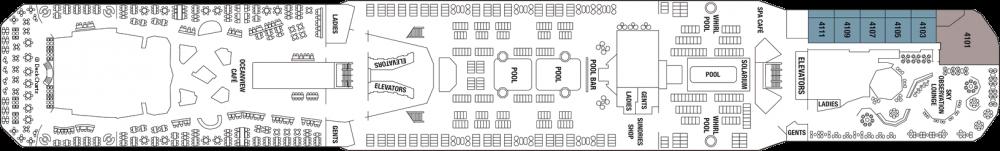 Палуба 13 на круизен кораб Celebrity Reflection - разположение на каюти, ресторанти, места за забавления и спорт