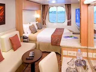 Описание на каюта Ocean View Stateroom - категория 07 на круизен кораб Celebrity Eclipse – обзавеждане, площ