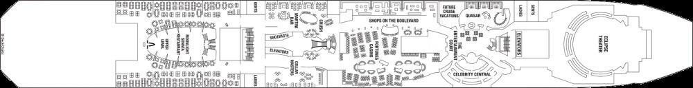 Палуба 4 на круизен кораб Celebrity Eclipse - разположение на каюти, ресторанти, места за забавления и спорт