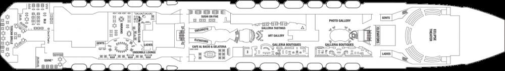 Палуба 5 на круизен кораб Celebrity Eclipse - разположение на каюти, ресторанти, места за забавления и спорт