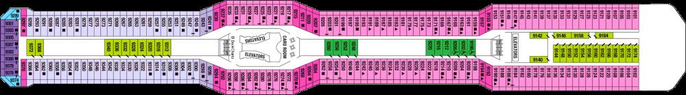 Палуба 9 на круизен кораб Celebrity Eclipse - разположение на каюти, ресторанти, места за забавления и спорт