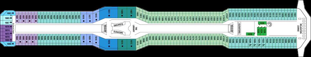 Палуба 11 на круизен кораб Celebrity Eclipse - разположение на каюти, ресторанти, места за забавления и спорт