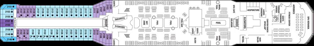 Палуба 12 на круизен кораб Celebrity Eclipse - разположение на каюти, ресторанти, места за забавления и спорт
