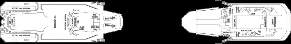 Палуба 15 на круизен кораб Celebrity Eclipse - разположение на каюти, ресторанти, места за забавления и спорт