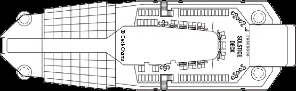 Палуба 16 на круизен кораб Celebrity Eclipse - разположение на каюти, ресторанти, места за забавления и спорт