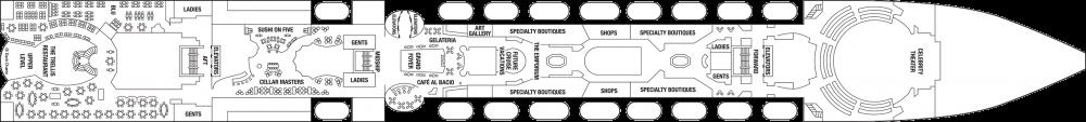 Палуба 5 на круизен кораб Celebrity Infinity - разположение на каюти, ресторанти, места за забавления и спорт