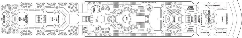 Палуба 10 на круизен кораб Celebrity Infinity - разположение на каюти, ресторанти, места за забавления и спорт