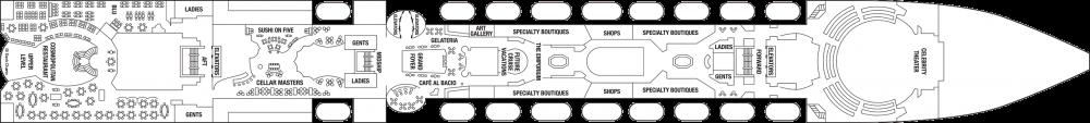 Палуба 5 на круизен кораб Celebrity Summit - разположение на каюти, ресторанти, места за забавления и спорт