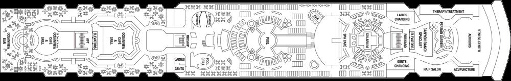 Палуба 10 на круизен кораб Celebrity Summit - разположение на каюти, ресторанти, места за забавления и спорт