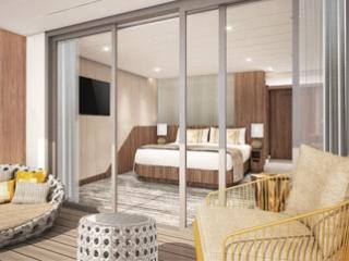 Описание на каюта Sky Suite - Апартамент – категории S1 на круизен кораб Celebrity Flora – обзавеждане, площ