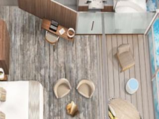 Описание на каюта Ult Sky Suite w/Infinite Ver - категория SU на круизен кораб Celebrity Flora – обзавеждане, площ