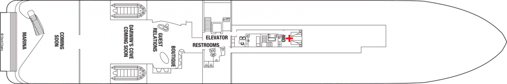 Палуба 2 на круизен кораб Celebrity Flora - разположение на каюти, ресторанти, места за забавления и спорт