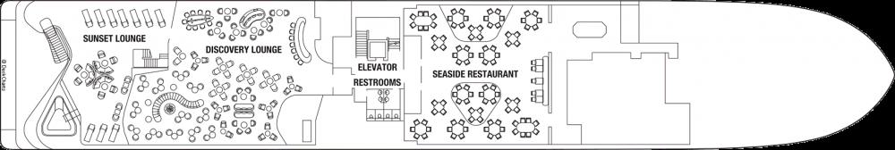 Палуба 4 на круизен кораб Celebrity Flora - разположение на каюти, ресторанти, места за забавления и спорт