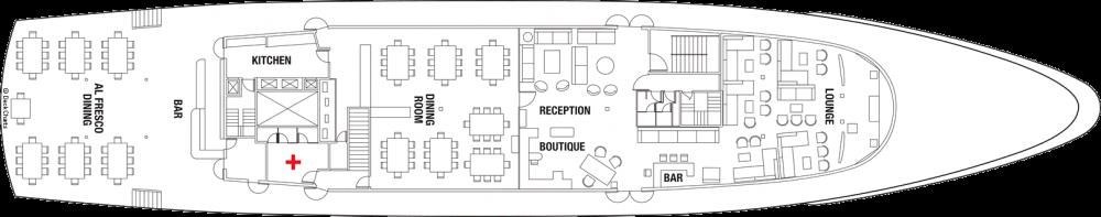 Палуба 3 на круизен кораб Celebrity Xperience - разположение на каюти, ресторанти, места за забавления и спорт