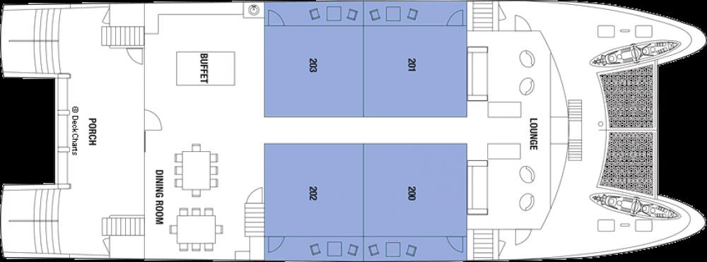 Палуба 2 на круизен кораб Celebrity Xploration - разположение на каюти, ресторанти, места за забавления и спорт