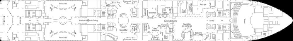 Палуба 6 на круизен кораб MSC Bellissima - разположение на каюти, ресторанти, места за забавления и спорт