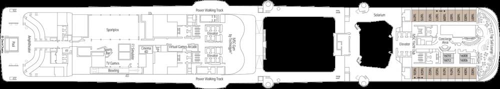 Палуба 16 на круизен кораб MSC Bellissima - разположение на каюти, ресторанти, места за забавления и спорт