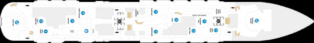 Палуба 5 на круизен кораб Spectrum Of The Seas - разположение на каюти, ресторанти, места за забавления и спорт