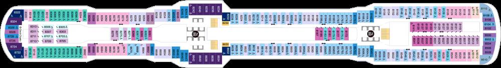 Палуба 8 на круизен кораб Spectrum Of The Seas - разположение на каюти, ресторанти, места за забавления и спорт