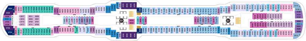 Палуба 9 на круизен кораб Spectrum Of The Seas - разположение на каюти, ресторанти, места за забавления и спорт