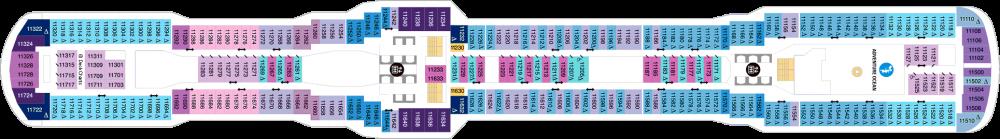 Палуба 11 на круизен кораб Spectrum Of The Seas - разположение на каюти, ресторанти, места за забавления и спорт