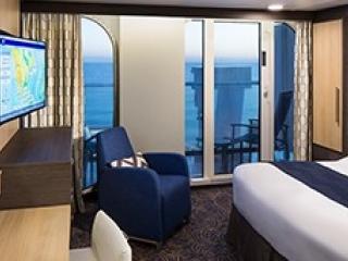 Описание на каюта Ocean View with Large Balcony - Външни каюти с голям балкон - категория 4C на круизен кораб Spectrum Of The Seas – обзавеждане, площ