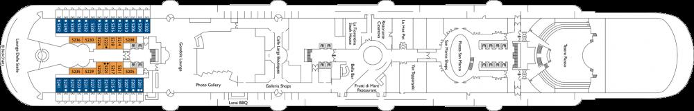 Палуба 5 на круизен кораб Costa Venezia - разположение на каюти, ресторанти, места за забавления и спорт