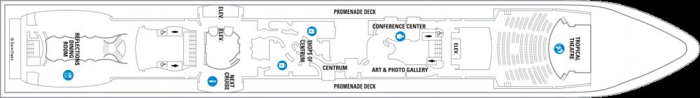 Палуба 5 на круизен кораб SERENADE of the seas - разположение на каюти, ресторанти, места за забавления и спорт