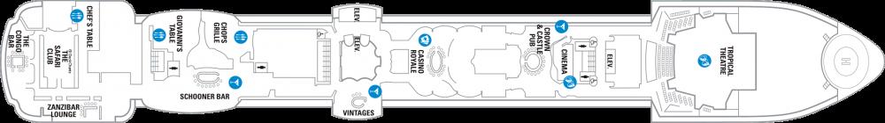 Палуба 6 на круизен кораб SERENADE of the seas - разположение на каюти, ресторанти, места за забавления и спорт